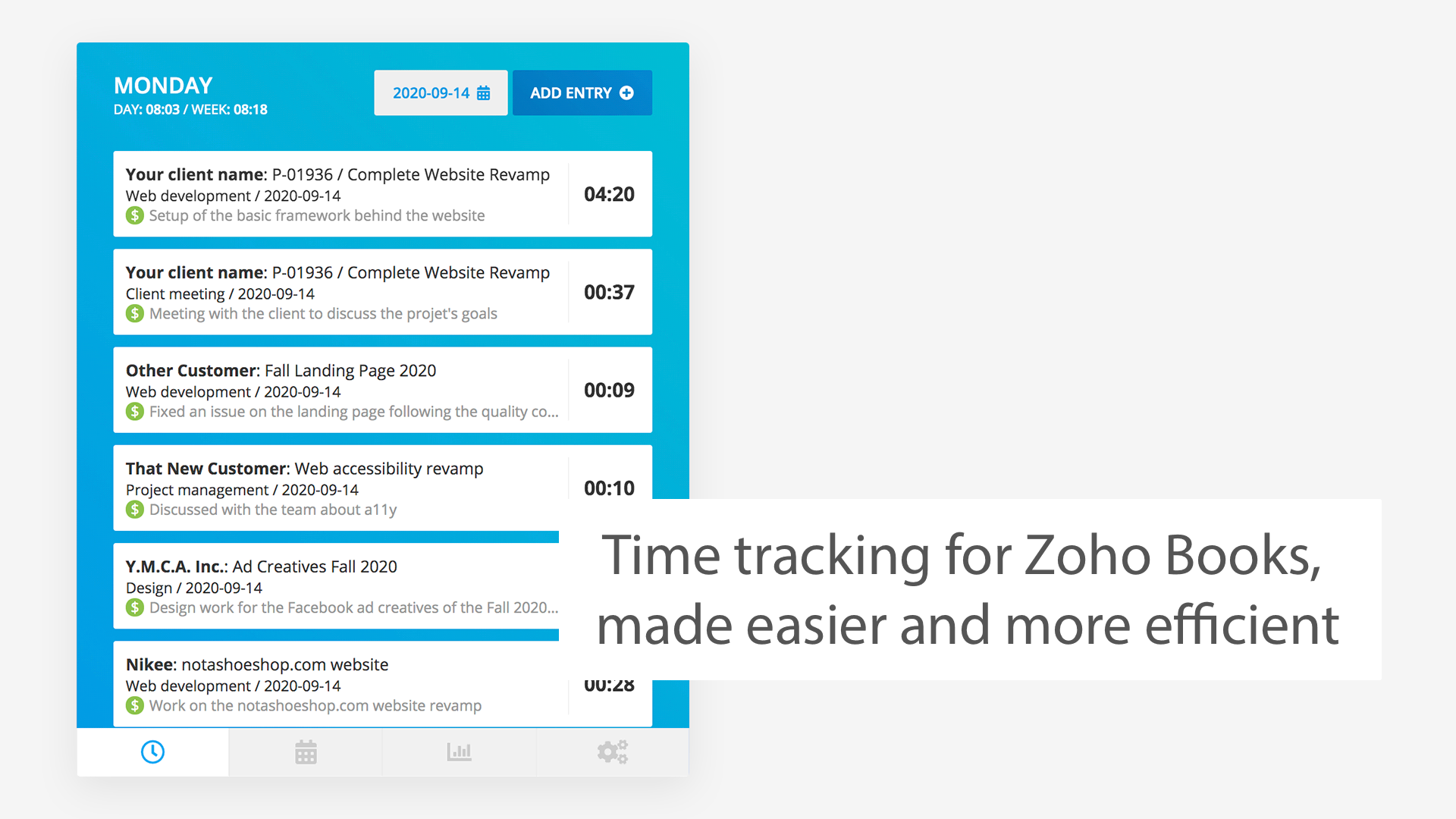 A preview of the Zoho Books Easier Time Tracking extension for Chrome